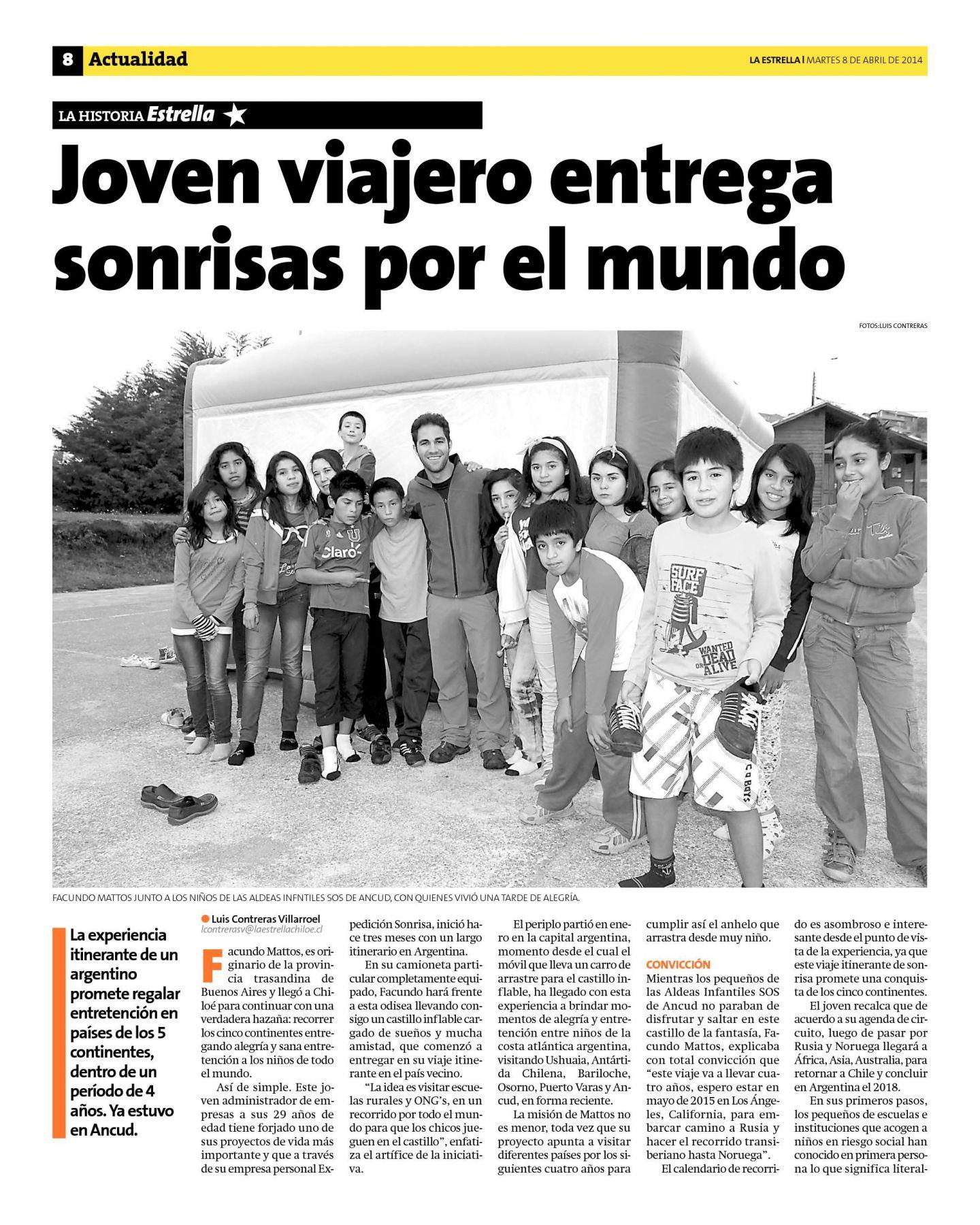 Entrevista el diario La Estrella de Chile: Joven Viajero Entrega Sonrisas por el Mundo