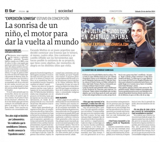 Diario El Sur de Chile: La Sonrisa de un Niño, El Motor para dar la Vuelta al Mundo
