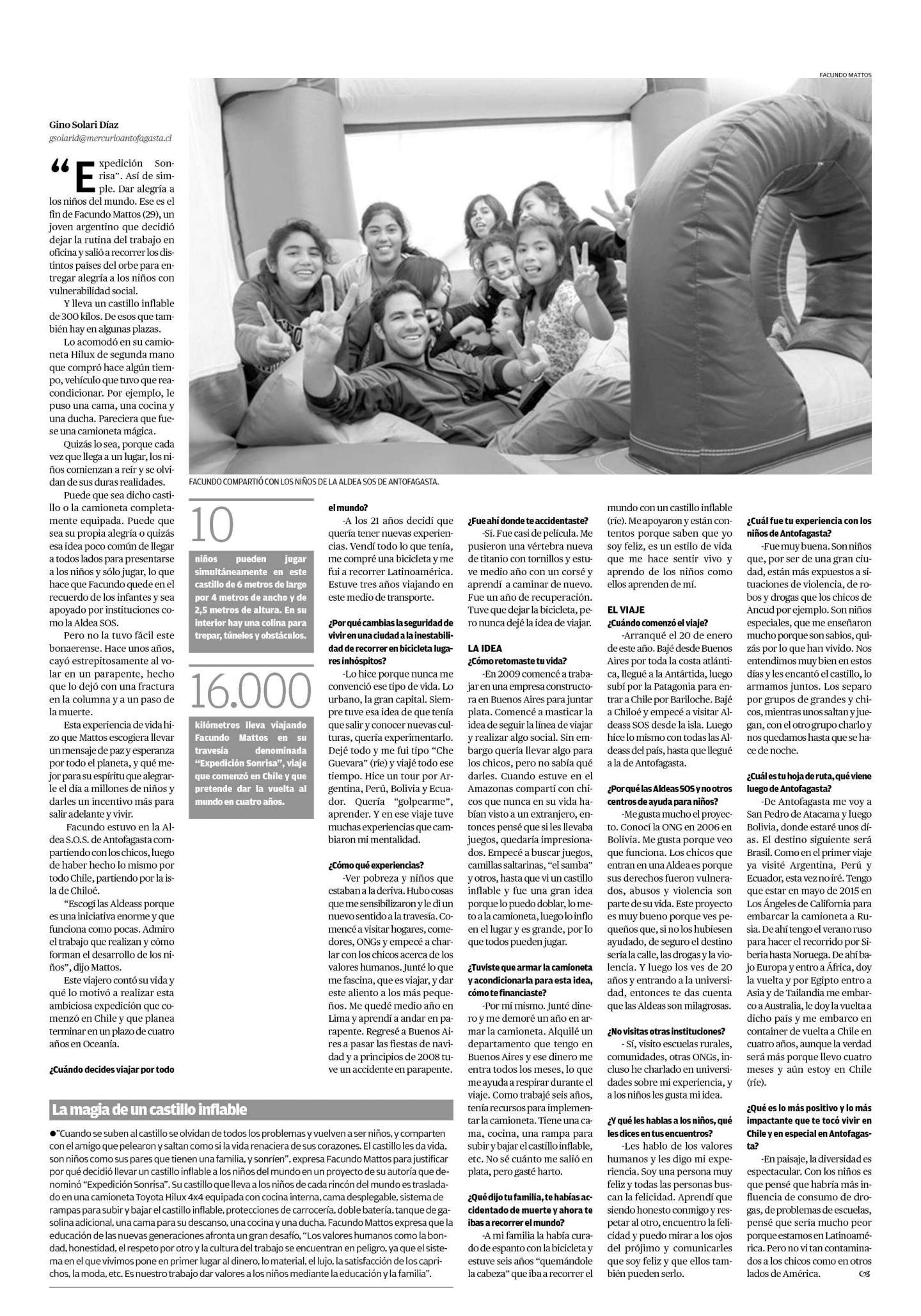 Diario El Mercurio: El Argentino que Viaja por el Mundo con un Castillo Inflable