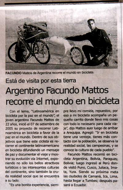 facundo mattos y su viaje en bicicleta pedal por la paz diario el pueblo perú