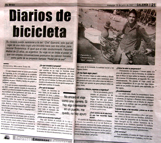 facundo mattos y su viaje en bicicleta pedal por la paz diario el búho perú