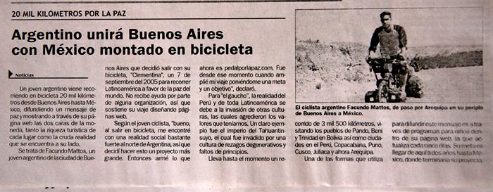 facundo mattos y su viaje en bicicleta pedal por la paz diario arequipa noticias perú