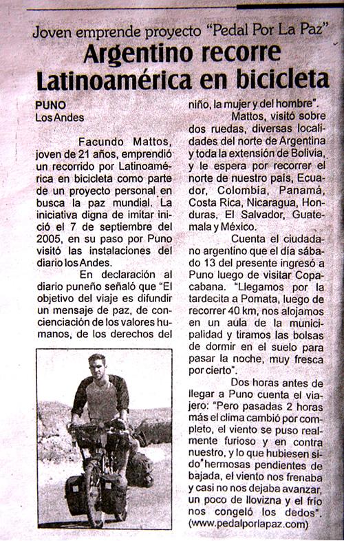 facundo mattos y su viaje en bicicleta pedal por la paz diario los andes puno perú
