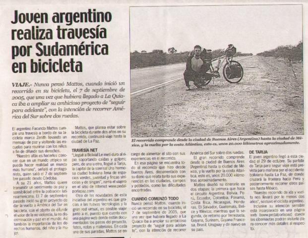 facundo mattos y su viaje en bicicleta por Latinoamérica por la paz en el mundo diario nuevo sur bolivia