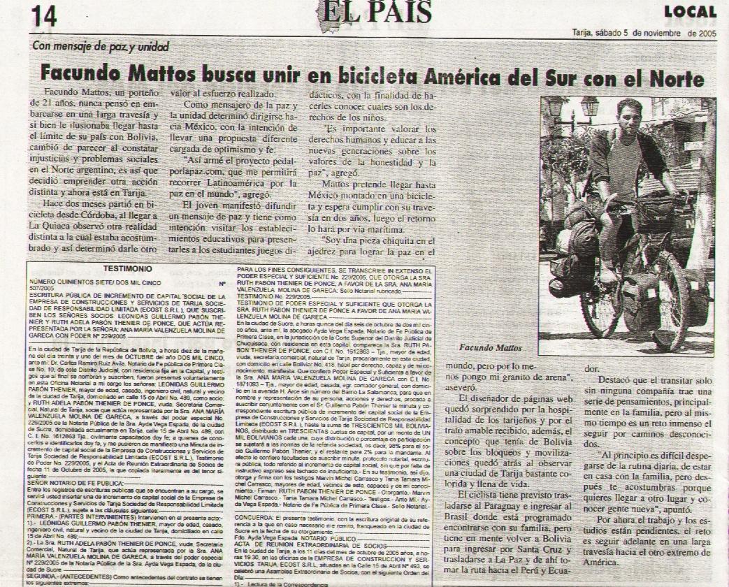 facundo mattos y su viaje en bicicleta por Latinoamérica por la paz en el mundo diario el pais bolivia